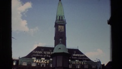 1982: statues at the top of a church building DENMARK Stock Footage