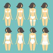 Young woman in different types of lingerie.  vector illustration Piirros