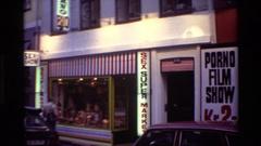 1982: facade of a commercial establishment dedicated to pornography DENMARK Stock Footage