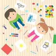 Kids Art-working process. Kids creativity vector illustration. Top view wit.. Piirros