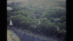1982: the panoramic view of a town with a magnificent church with steeples Stock Footage