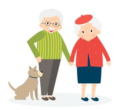 Happy old couple together. Seniors couple with dog on walk. Vector Illustrati Piirros