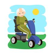 Senior Man on a Mobility Scooter. Elderly people moving on scooter. Elderly.. Stock Illustration