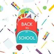 Back to School concept. Backpack with school supplies. Vector illustration. Stock Illustration