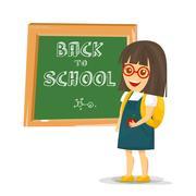 Schoolgirl with backpack near blackboard. Vector Illustration. Stock Illustration