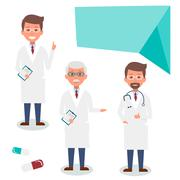 Doctor character man set with test results and stethoscope. Vector Illustrati Stock Illustration