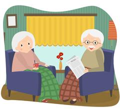 Happy old couple together. Seniors couple sits in a chair at home. Vector I.. Stock Illustration