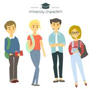 Student group isolated on white. University characters. Students with books.. Stock Illustration