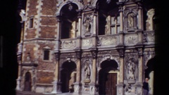 1982: an old sculpture or a monument with beautiful art works. DENMARK Stock Footage
