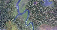 Bird's eye view of a Finland river and moorland Stock Footage