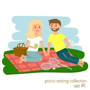Young couple on picnic together. Family picnic vacation. Summer happy lifes.. Piirros