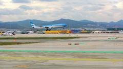 BARCELONA, SPAIN, APRIL 30, 2016: Blue Plane Landing On Airport Runway Stock Footage