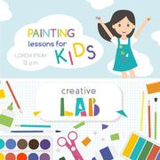 Painting lessons. Top view on art-working process.  Kids creativity Lab. Ba.. Piirros