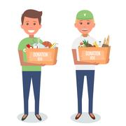 Volunteers with donation boxes isolated on white. Vector Illustration Piirros