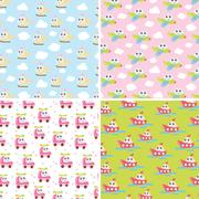 Kids patterns set with cute car, airplane, helicopter, ship. Flat vector te.. Piirros