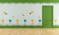 Playroom with colorful decorations on wall Stock Illustration