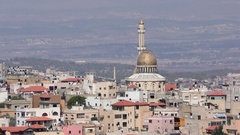 Skyline of Umm El Fahm, an Arab town with citizens of Israel. Stock Footage