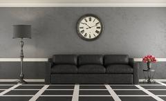 Classic living room with leather sofa Stock Illustration