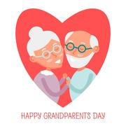 Happy old couple together. Cute Seniors couple in love. grandparents holdin.. Stock Illustration