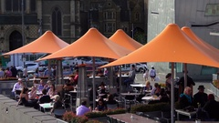 Melbourne, Federation Square, People Eating under Sunshade Stock Footage