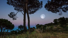 Sunset to Full Moon time lapse tracking shot Arkistovideo