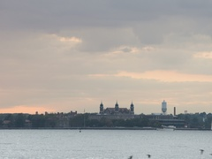 New York City's Ellis Island at sunset - 4k Stock Footage