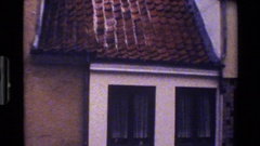 1983: black bird lands on ledge of roof as camera pans down to window. DENMARK Stock Footage