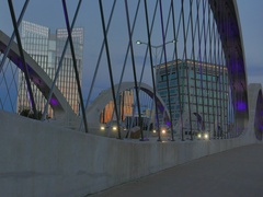 Traffic over Bridge in Fort Worth in the evening Stock Footage