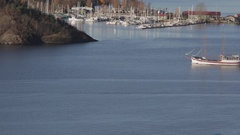 Sail Ship Near Oslo Stock Footage