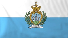 Flag of San Marino waving in the wind, seemless loop animation Stock Footage