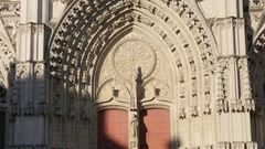 City center cathedral Saint-Nicolas de Nantes details on facade Stock Footage