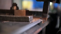 CNC Milling machine cuts metal layer on the edge. Close up. Stock Footage