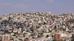 Zoom in: Skyline of Umm El Fahm, an Arab town with citizens of Israel. Stock Footage