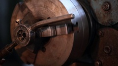 Thread cutting on pipe - close up Stock Footage