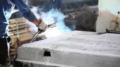 Welder at work in metal industry, Sparks and smoke. Stock Footage