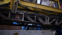 Crane lift cargo on the factory Stock Footage