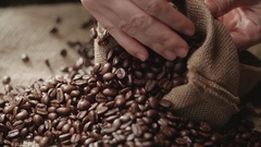 Human hands to touch high-quality coffee beans to scatter, bag jute, slow motion Stock Footage