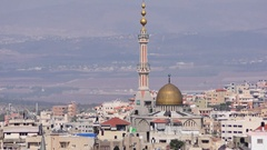 Zoom out: Skyline of Umm El Fahm, an Arab town with citizens of Israel. Stock Footage
