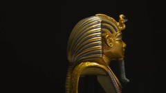 4K Golden Pharaoh Mask Artifact - Egyptian Archaeology Stock Footage
