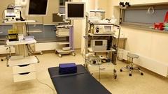 Big modern endoscopy, colonoscopy, gastroscopy treating room in hospital Stock Footage