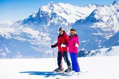Ski and snow fun in winter mountains Stock Photos