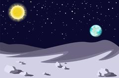 Lunar landscape. Planet earth sun in the sky. Vector Stock Illustration