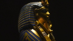 4K Pharaoh Sculpture Tomb Artifact - Egyptian Archaeology Stock Footage