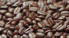 Beautiful background from roasted coffee beans high quality, ready to grind Stock Footage