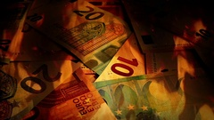 Euros Banknotes Rotating In Fire Stock Footage