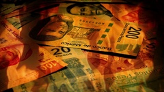 Mexican Peso Banknotes Rotating In Fire Stock Footage