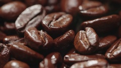 4K Aroma of coffee, strong Roast, Coffee Bean macro, static scene and rising up Stock Footage