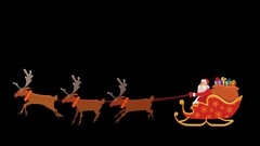 Cartoon Santa Riding On Sleigh Animation with Alpha Сhannel Stock Footage