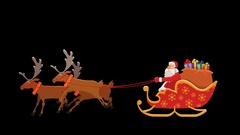 Cartoon Santa Sleigh Ride Animation with Alpha Сhannel Stock Footage