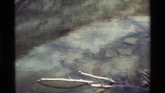 1981: clear stream looking to the bottom and zoom-in on the far rock wall and Stock Footage